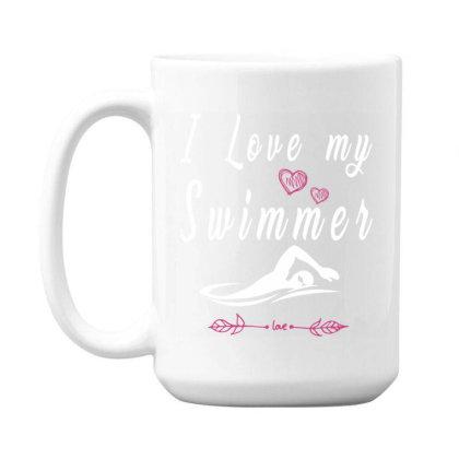 Swimming Lovers  I Love My Swimmer Team 15 Oz Coffee Mug Designed By Rishart