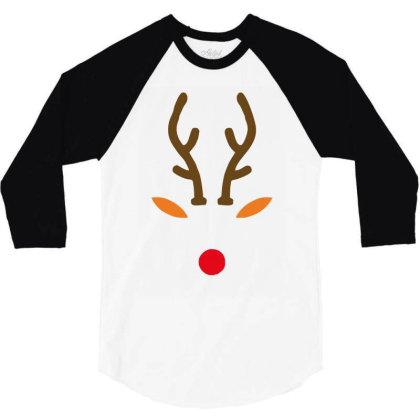 Rudolph The Red Nose Deer 3/4 Sleeve Shirt Designed By Garrys4b4