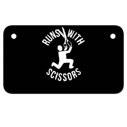 Run Swith Scissors Motorcycle License Plate Designed By Garrys4b4