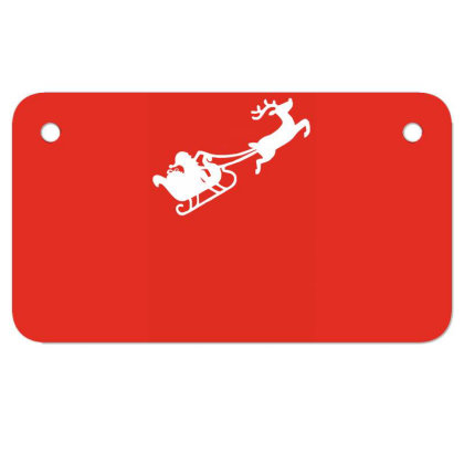 Santa Flying With Reindeer Motorcycle License Plate Designed By Garrys4b4