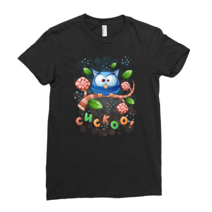 Cuckoo Owl Bird Ladies Fitted T-shirt Designed By Rishart