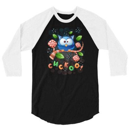 Cuckoo Owl Bird 3/4 Sleeve Shirt Designed By Rishart