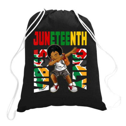 Juneteenth Vibes Only Dabbing African American Boys Kids Drawstring Bags Designed By Rame Halili