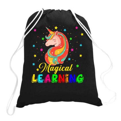 Magical Learning Star Unicorn Drawstring Bags Designed By Rishart