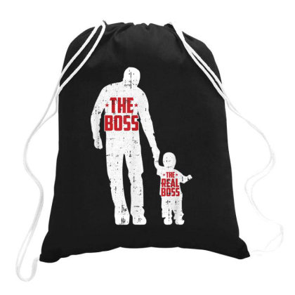 The Boss The Real Boss Fathers Day Dad Son Daughter Matching Drawstring Bags Designed By Rame Halili
