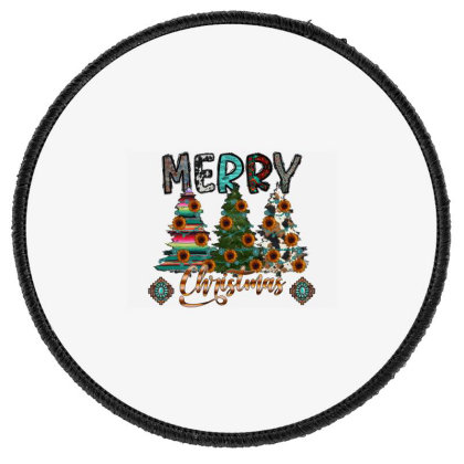 Western Merry Christmas Round Patch Designed By Badaudesign