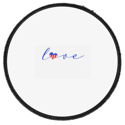 Love American Flag Round Patch Designed By Akin