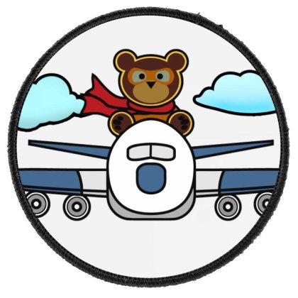 Airplane Bear Round Patch Designed By Hatta1976