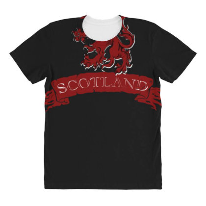 Scotland Red Lion Rampant With Scroll All Over Women's T-shirt Designed By Toldo