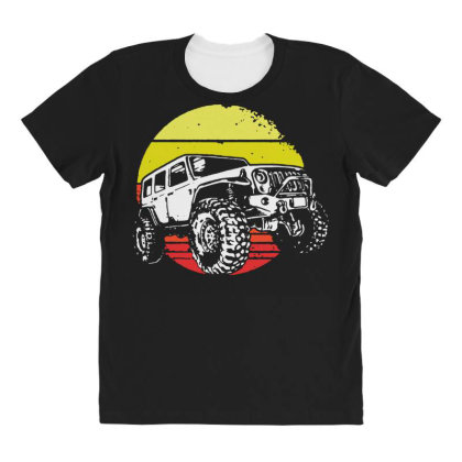 Vintage Retro 70s 4x4 Off Roading All Over Women's T-shirt Designed By Hot Maker