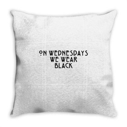 On Wednesdays We Wear Black Throw Pillow Designed By Jasmine Tees