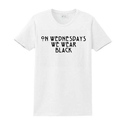 On Wednesdays We Wear Black Ladies Classic T-shirt Designed By Jasmine Tees