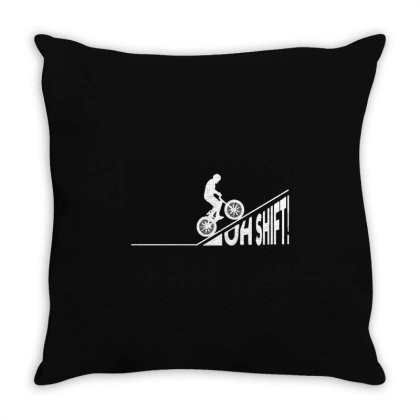 Oh Shift! Bicycle Gift Ide Bike Cycling Throw Pillow Designed By Jasmine Tees