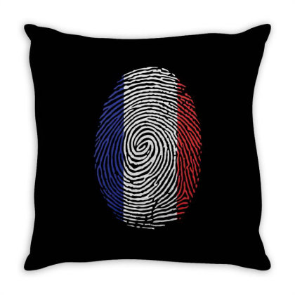 Flag France Euro 2021 Fingerprint Throw Pillow Designed By Jetstar99