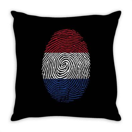 Flag Holand Euro 2021 Fingerprint Throw Pillow Designed By Jetstar99