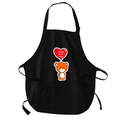 Mother's Day Heart Bear Cartoon Medium-length Apron Designed By Hot Maker