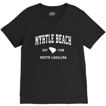 Myrtle Beach South Carolina Vintage Athletic V-neck Tee Designed By Jasmine Tees