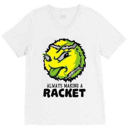Tennis Ball Racket V-neck Tee Designed By Toldo