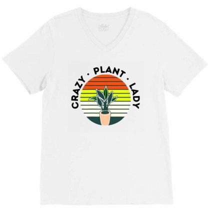 Damen Crazy Plant Lady V-neck Tee Designed By Hot Maker