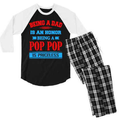 Being A Dad Is An Honor Men's 3/4 Sleeve Pajama Set Designed By Jasmine Tees