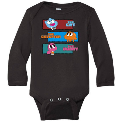 The Cat, The Goldfish And The Bunny Long Sleeve Baby Bodysuit Designed By Toldo