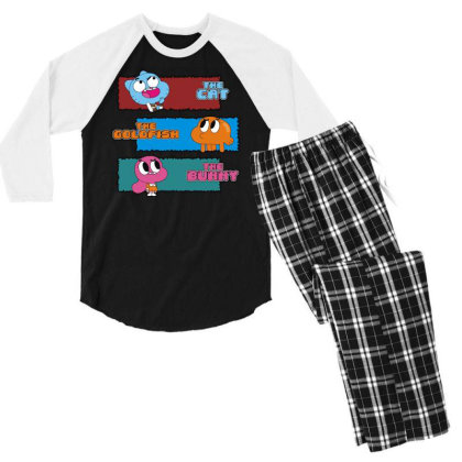 The Cat, The Goldfish And The Bunny Men's 3/4 Sleeve Pajama Set Designed By Toldo