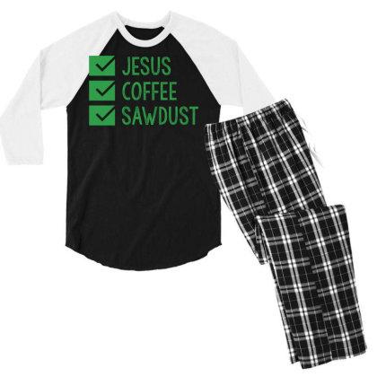 Jesus Coffee And Sawdust Men's 3/4 Sleeve Pajama Set Designed By Helloshop