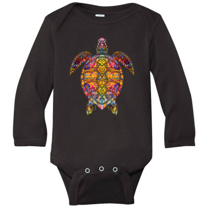 Psychedelic Hippie Sea Turtle Gift - Tribal Turtle Design Long Sleeve Baby Bodysuit Designed By Mrt90