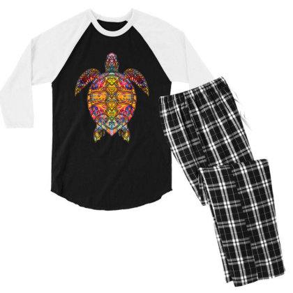 Psychedelic Hippie Sea Turtle Gift - Tribal Turtle Design Men's 3/4 Sleeve Pajama Set Designed By Mrt90