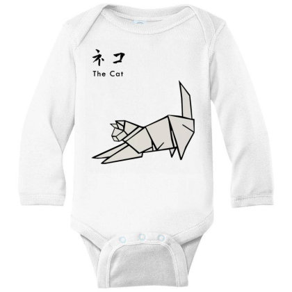 Japanesse Origami Cat Long Sleeve Baby Bodysuit Designed By Inmorgan