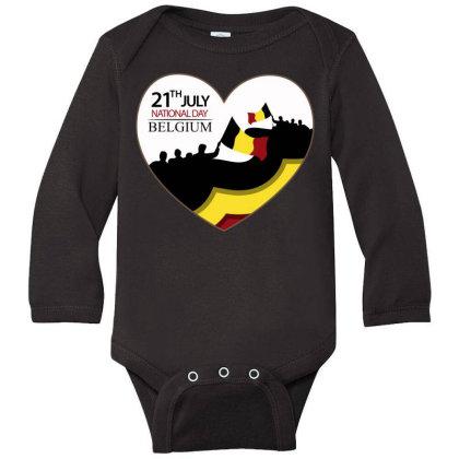 Belgium National Holiday Of July 21 Long Sleeve Baby Bodysuit Designed By Spookybrave