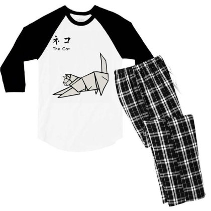 Japanesse Origami Cat Men's 3/4 Sleeve Pajama Set Designed By Inmorgan