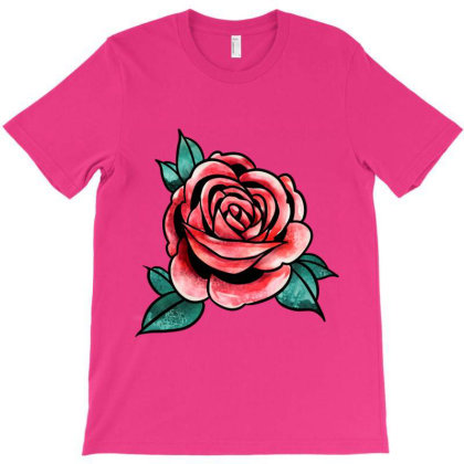 Red Rose Flower T-shirt Designed By Aa-kudus