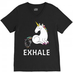 Exhale Unicorn V-Neck Tee | Artistshot