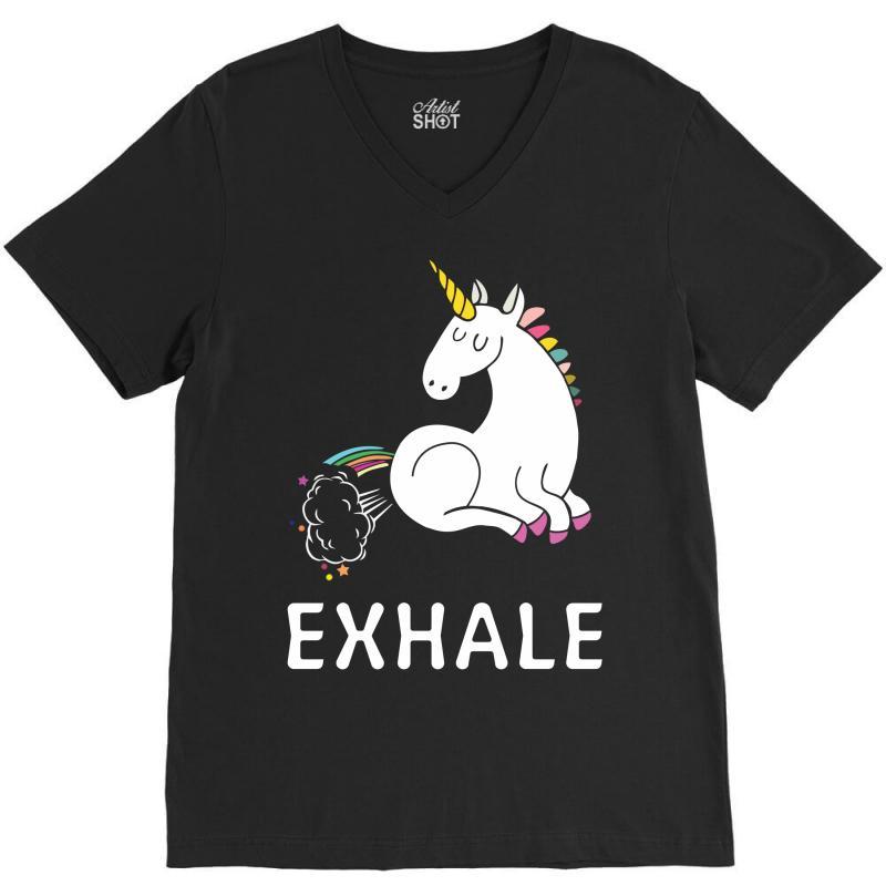 Exhale Unicorn V-neck Tee | Artistshot