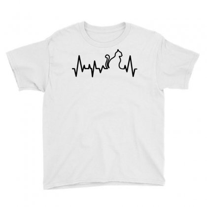 Cat Heartbeat Line Youth Tee Designed By Tshiart
