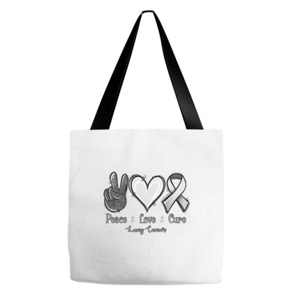 Peace Love Cure Lung Cancer Tote Bags Designed By Jasminsmagicworld