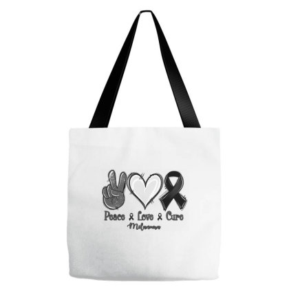 Peace Love Cure Melanoma Cancer Tote Bags Designed By Jasminsmagicworld