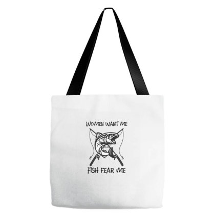 Fish Fear Me Funny Fishing Tote Bags Designed By Coşkun