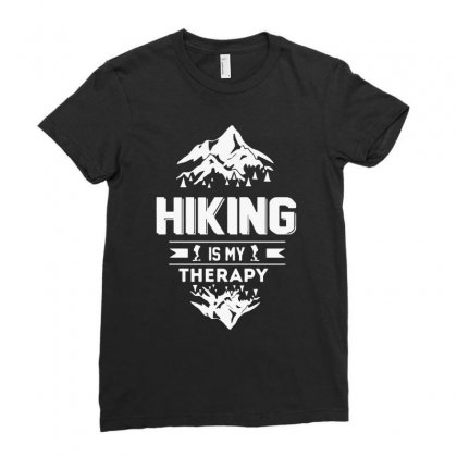 Hiking Is My Therapy! Ladies Fitted T-shirt Designed By Riksense