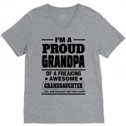 Proud Grandpa Of A Freaking Awesome Granddaughter V-Neck Tee | Artistshot