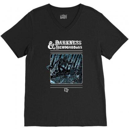 Darkness And Demogorgons V-neck Tee Designed By Mash Art