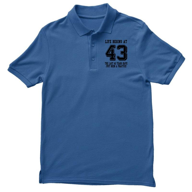 43rd Birthday Life Begins At 43 Men's Polo Shirt   Artistshot