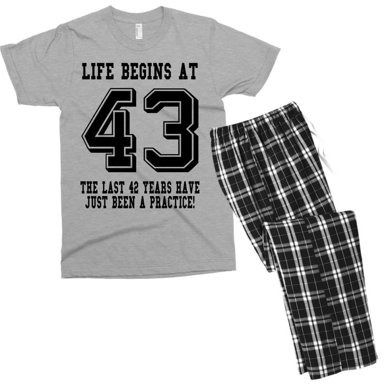 43rd Birthday Life Begins At 43 Men's T-shirt Pajama Set | Artistshot