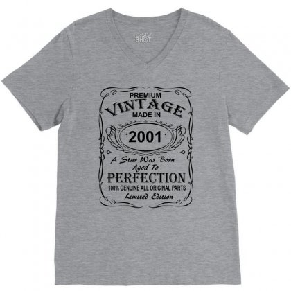 Birthday Gift Ideas For Men And Women Was Born 2001 V-neck Tee Designed By Killakam