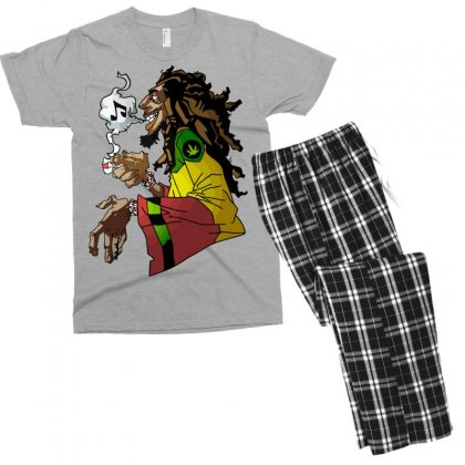 Rasta Weed And Music Men's T-shirt Pajama Set Designed By Mdk Art