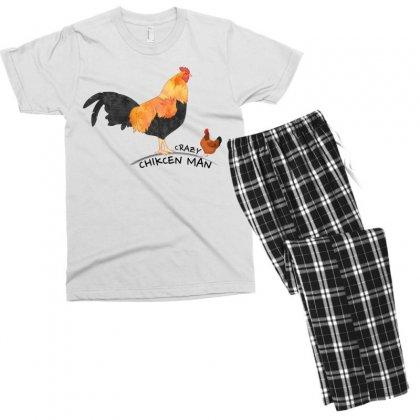 Crazy Chicken Man Men's T-shirt Pajama Set Designed By Designbycommodus
