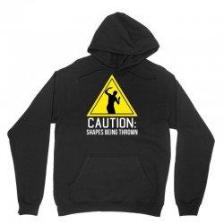 caution shapes being thrown Unisex Hoodie   Artistshot