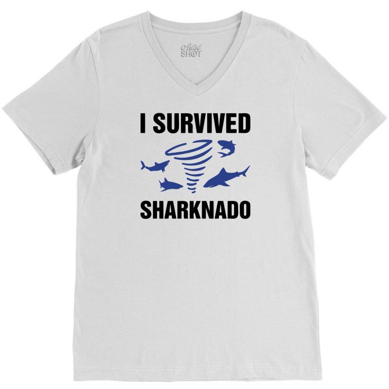 I Survided Sharknado V-neck Tee | Artistshot