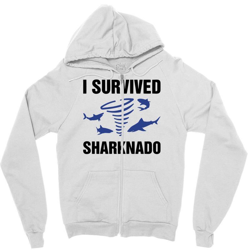 I Survided Sharknado Zipper Hoodie | Artistshot